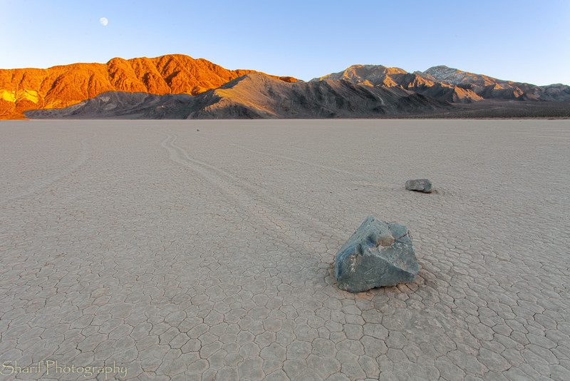 A couple of stones and the trails they created in their movement by natural forces stand out on the playa of the racetrack.