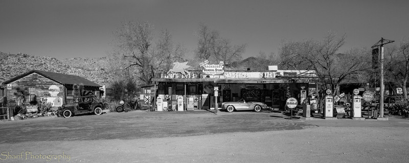 A collection of Route 66 memorabilia on display at Hackberry General Store.