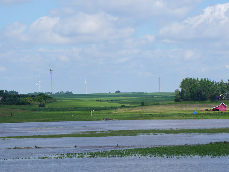 We left for Wyoming by car at 6 PM from our farm.  There were heavy rains in Minnesota, and here is some flooding we saw along I-90;  June 15, 2014.