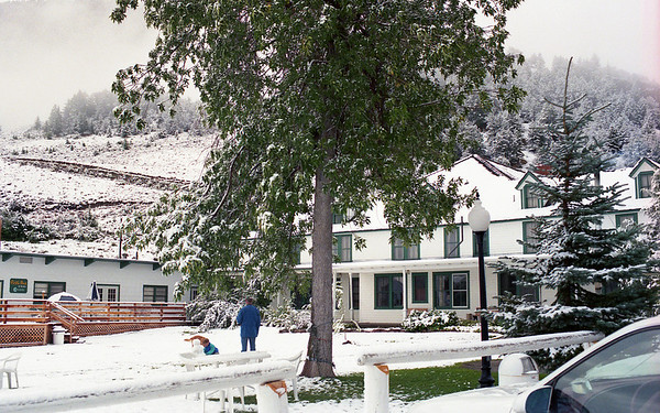 August snow at Chico Hot Springs in Pray, MT   While we were getting snow here, Hurricane Andrew made landfall in FL.