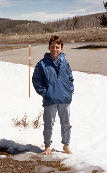 obligatory picture of Rog barefoot in summer snow