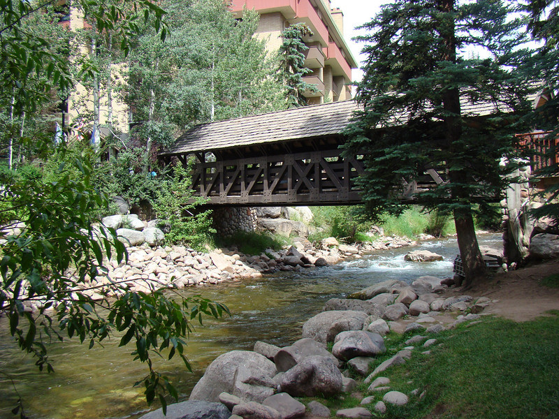 The covered bridge that connects the shopping area to the hotel area in Vail.