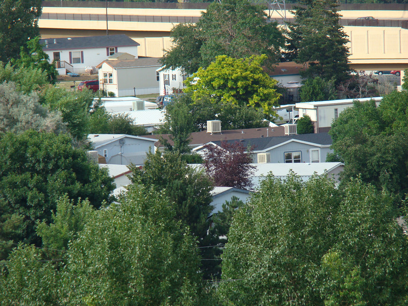 A view of Ricks house from the hill at the  RV Park. His house is the one with the blue van in front of it.