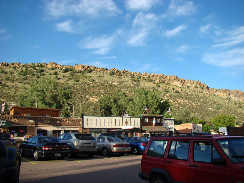 This is in a little town where we all went to dinner. The mountain is the back side of Red Rock Canyon in Colorado where the concerts are held.