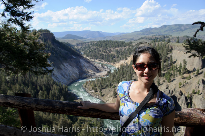 Connie posing in front of the Snake River