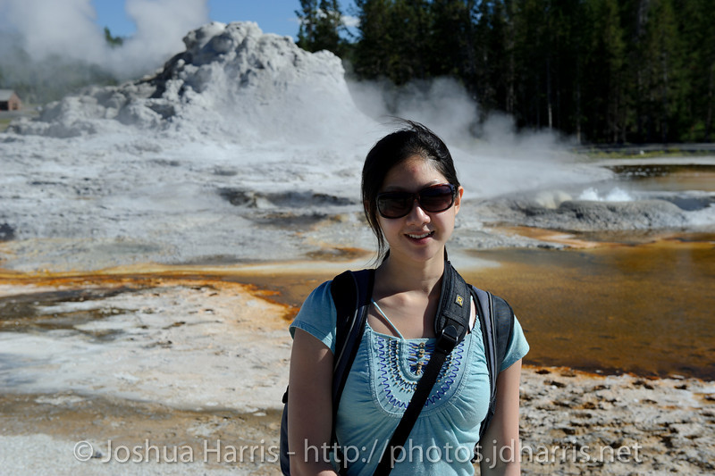 Connie in front of Castle Geyser
