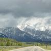 Driving beside Teton range