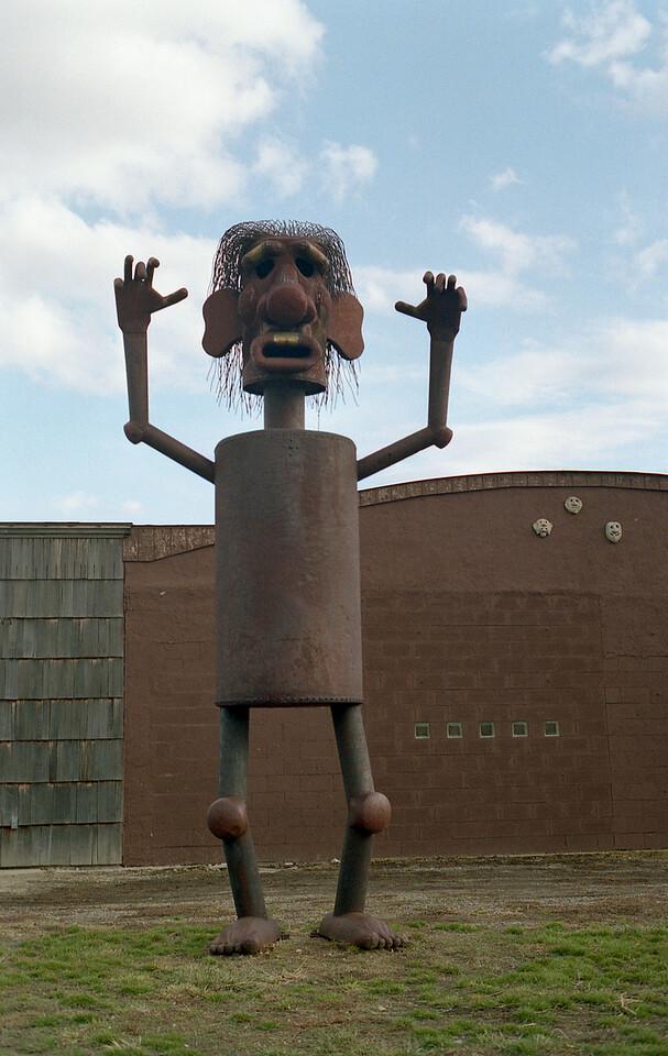 Statue outside Charles Ringer art studio in Joliet, MT