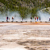 People across the way looking at grand prismatic Spring