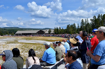 Crowd waiting for Old Faithful to go off.