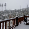 Next day, woke up to snow at the Aspenglow Chalet. Time for snow tires!