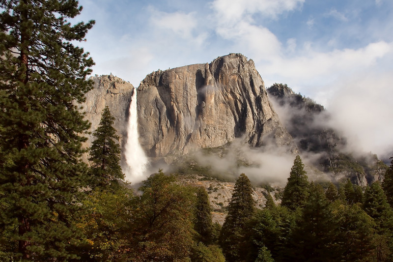 Yosemite falls in mid October after a heavy rain.