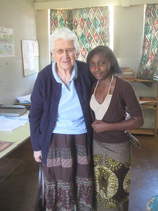 While Ken and I toured the Girls School with a staff member as guide, Aunt Marj waited in the office. When we returned, she was happily visiting with Dr. Fumpa's daughter, now a senior at the school (but only a baby when Marj retired from Mukinge 15 years ago).