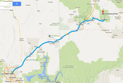 Our route from Las Vegas to Zion