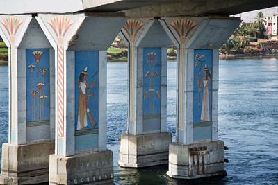 Underneath a bridge along the Nile River
