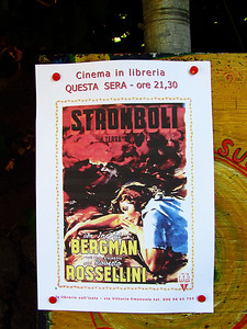 The movie Stromboli was playing at the outdoor theatre at the book store.  We only stayed a few minutes, will have to order it on netflix when we get home.