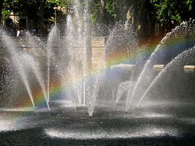 For Gay Pride month, this fountain in Nimes rolled out a rainbow welcome for me.