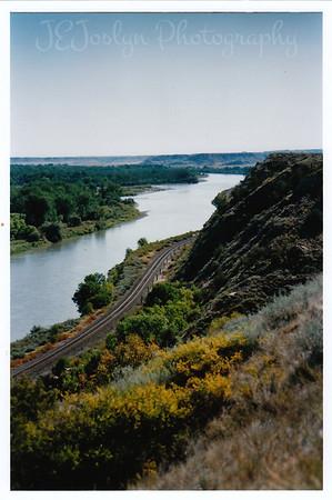 Very picturesque rest stop in North Dakota.  The railroad line is Burlington Northern Railroad.