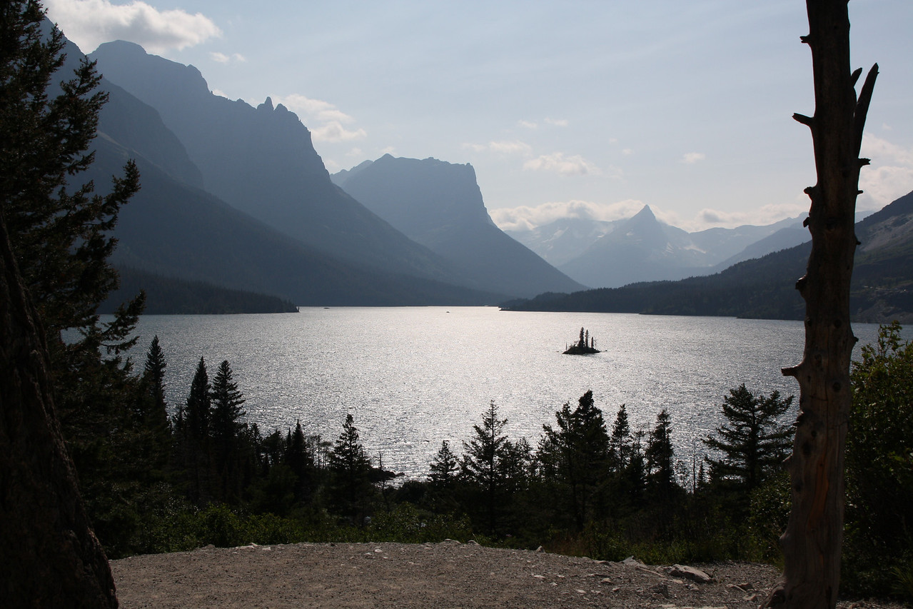 Glacier, MT-RedBus Tour Sights.  This is St. Mary's Lake, Wild Goose Island, as viewed from the Going To The Sun road.