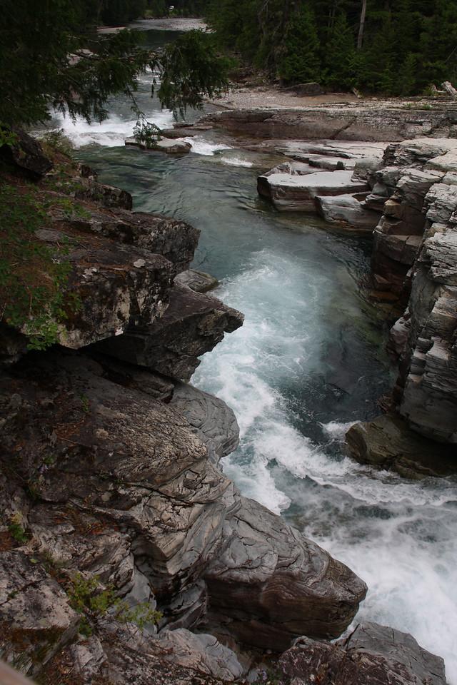 Glacier, MT-RedBus Tour Sights.  McDonald River Falls  8-2009