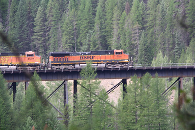 Glacier, MT-RedBus Tour Sights.  BNSF, Berlington Northern Santa Fe is the railroad line running many freight trains on this line that also carries the Empire Builder from Chicago to Seattle and Portland.