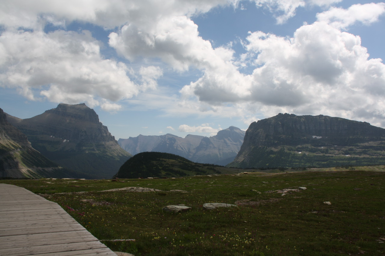 Glacier Park - Logan Pass structures.  Mountain on right is Heavy Runner 8016  ft.   8-2009