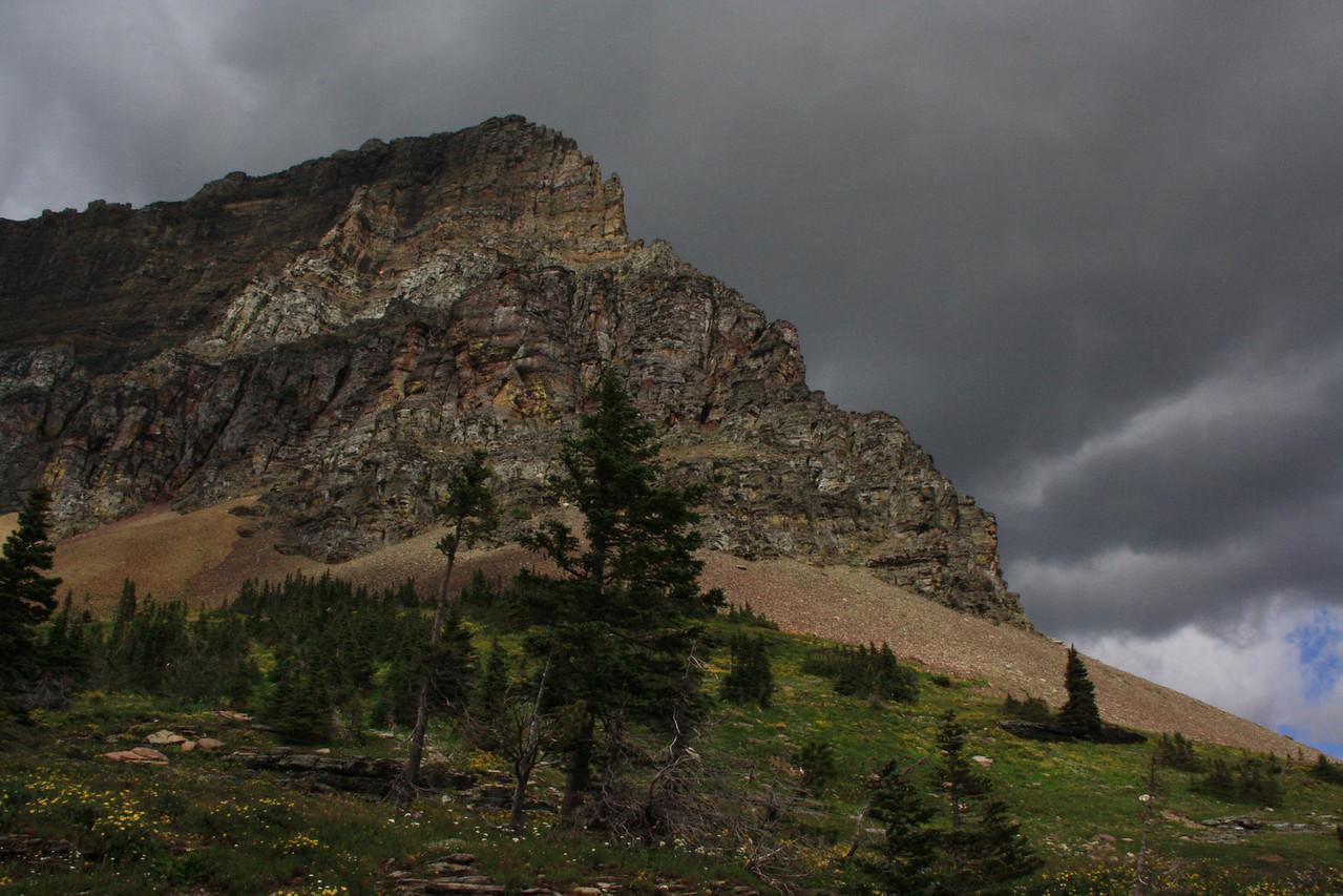 Glacier Park - Logan Pass structures.  Clements Mountain 8760  ft.  8-2009
