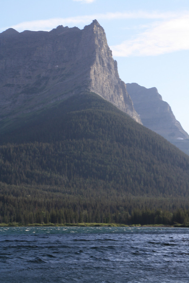 Glacier Park. St. Mary's Lake, from Boat tour.  Fusillade Mountain  8-2009