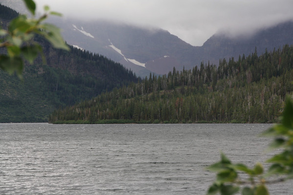 Glacier Park Lodge - Two Medicine Lake.  Mountain in back left (Sinopah Mountain), would be, in libraryphoto.cr.usgs.gov, called Mount Rockwell   8-2009