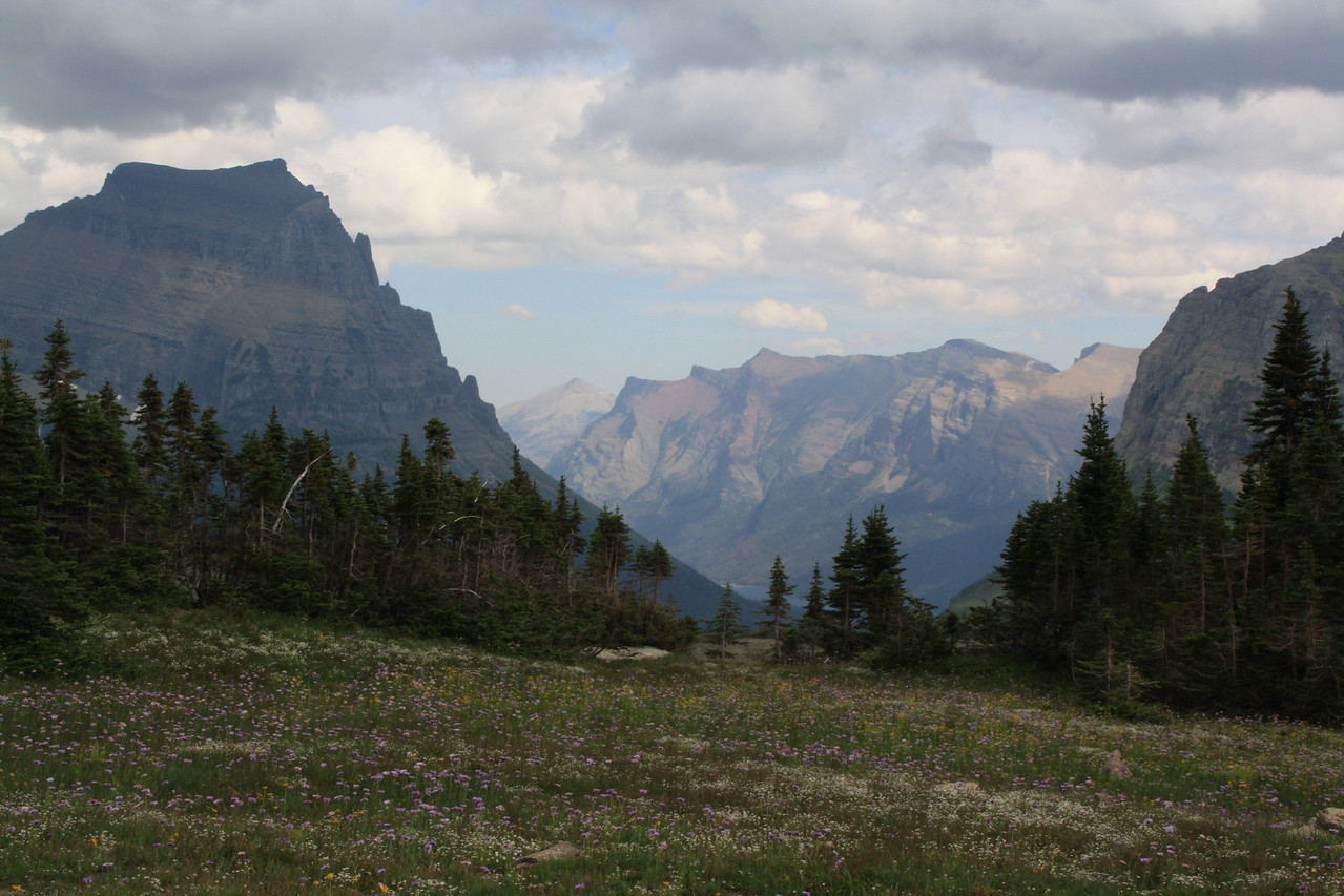 Glacier Park - Logan Pass structures. Clements Mountain 8760 ft.   8-2009