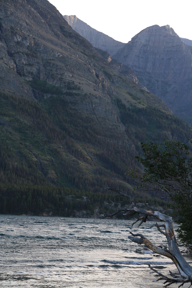 Glacier Park, MT.  View of Swiftcurrent Lake across the road from Swiftcurrent Motor Inn parking lot.  8-2009