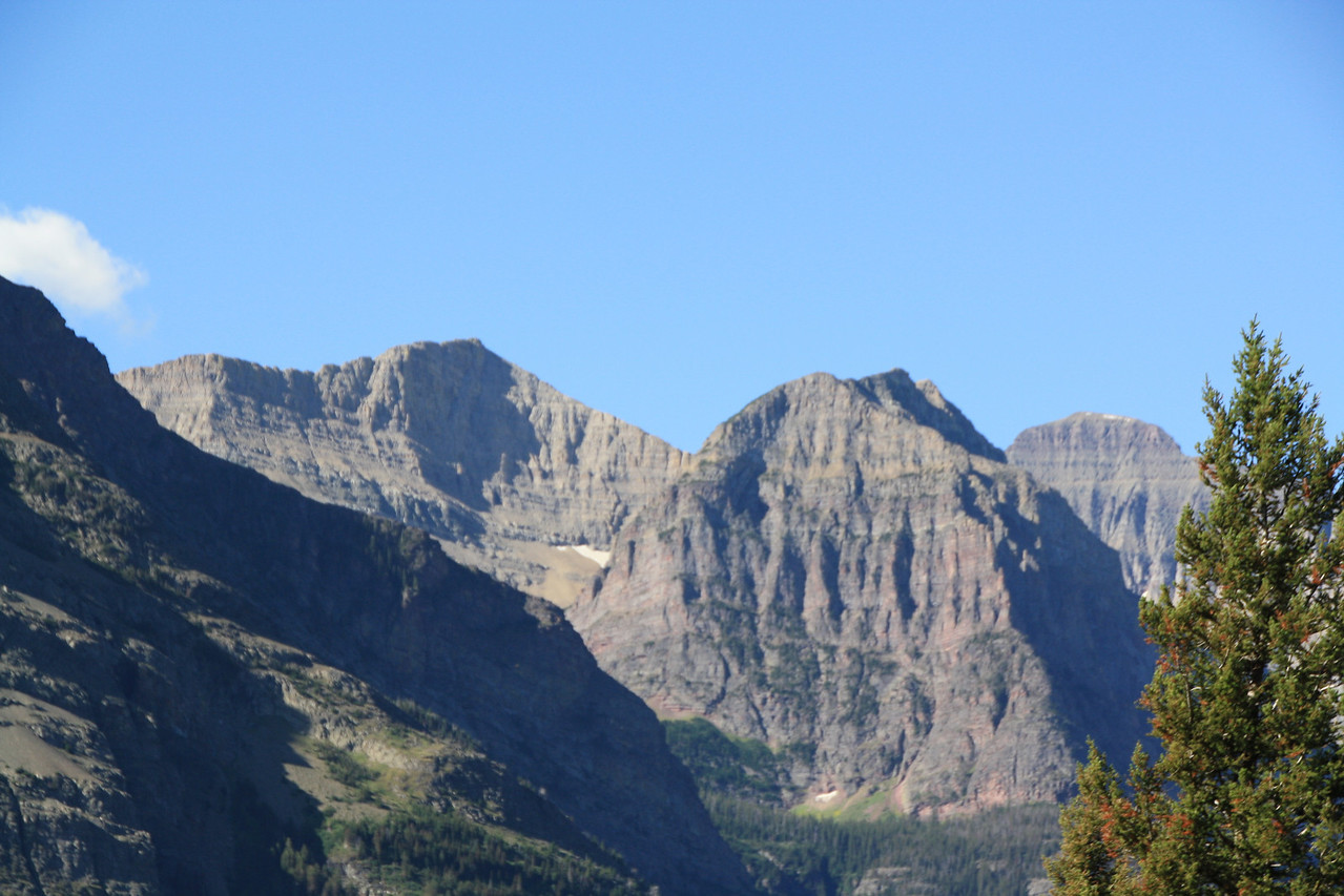 Glacier Park, MT.  Mountains from Swiftcurrent Motor Inn parking lot.  8-2009