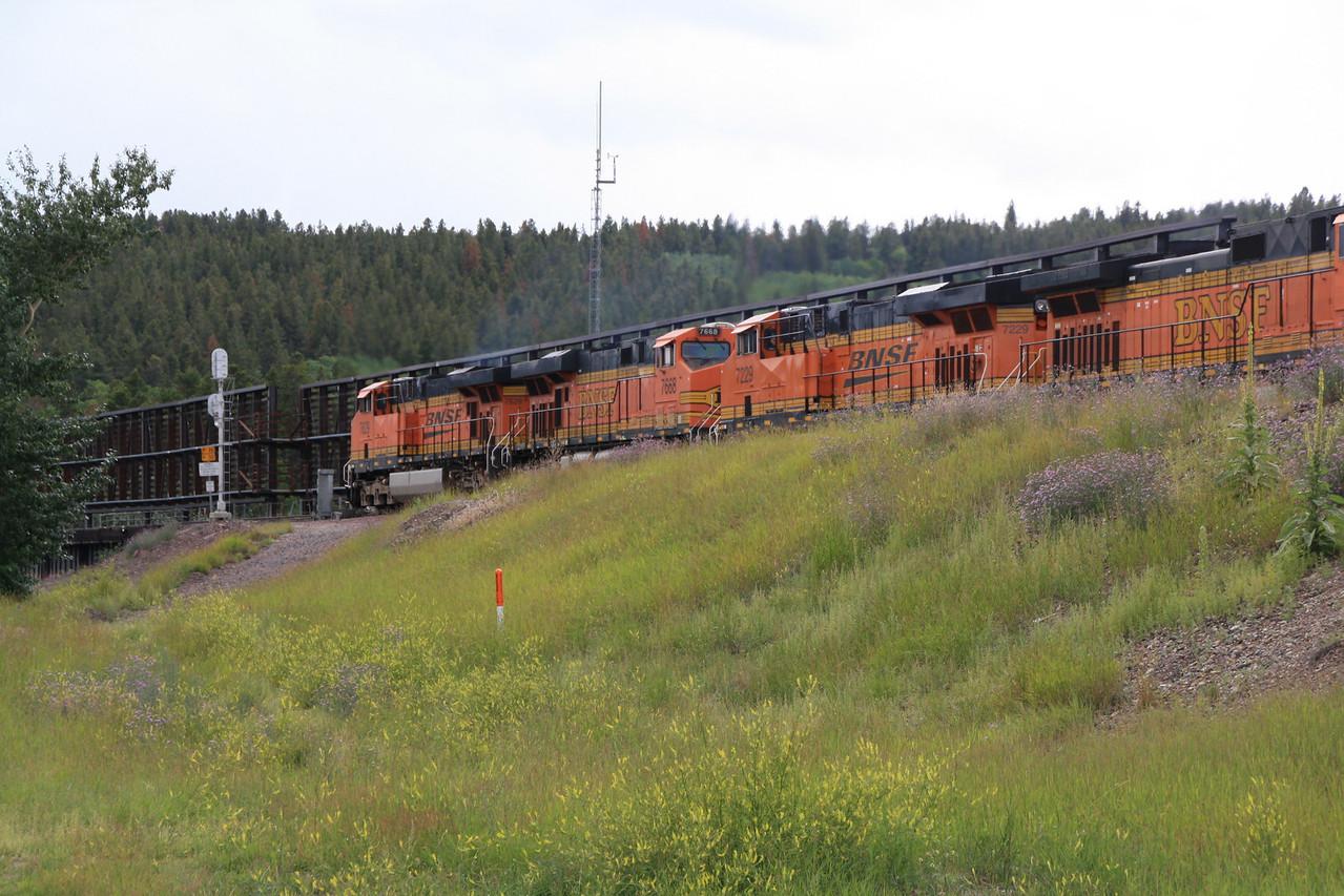 BNSF train at East Glacier Park, MT depot.  8-16-09.