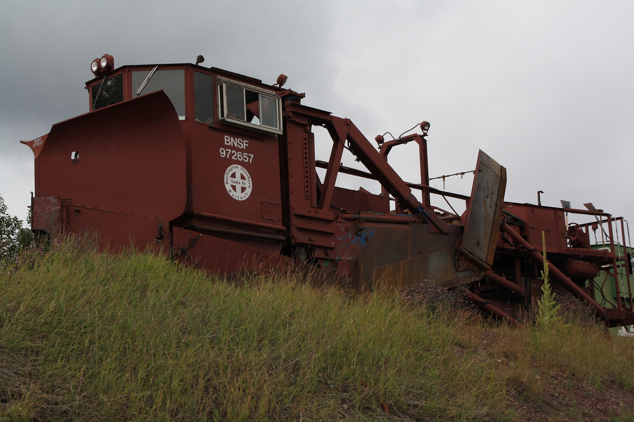 BNSF snow plow equipment at East Glacier Park, MT depot.  8-16-09.