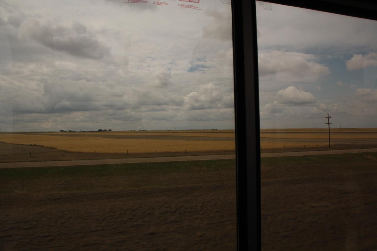 BNSF Amtrak train, view of Montana, rainey day.  8-16-09.