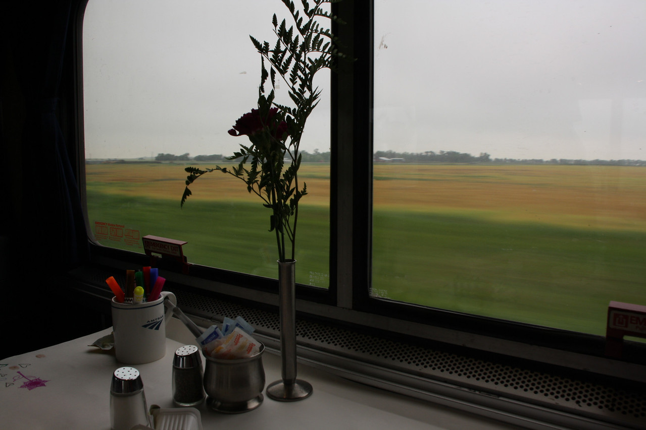 BNSF-Amtrak train dining car view of somewhere in North Dakota or Montana.  8-8-09.