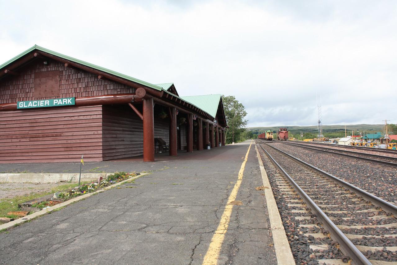 BNSF Amtrak train at East Glacier Park, MT depot.  8-16-09.
