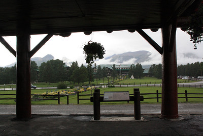 View of Glacier Lodge and mountain range behind it, from the Debot, rainey day, 8-16-09.