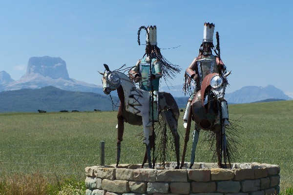 Metal Warrior sculpture in the north is located near the US-Canadian border on Highway 89