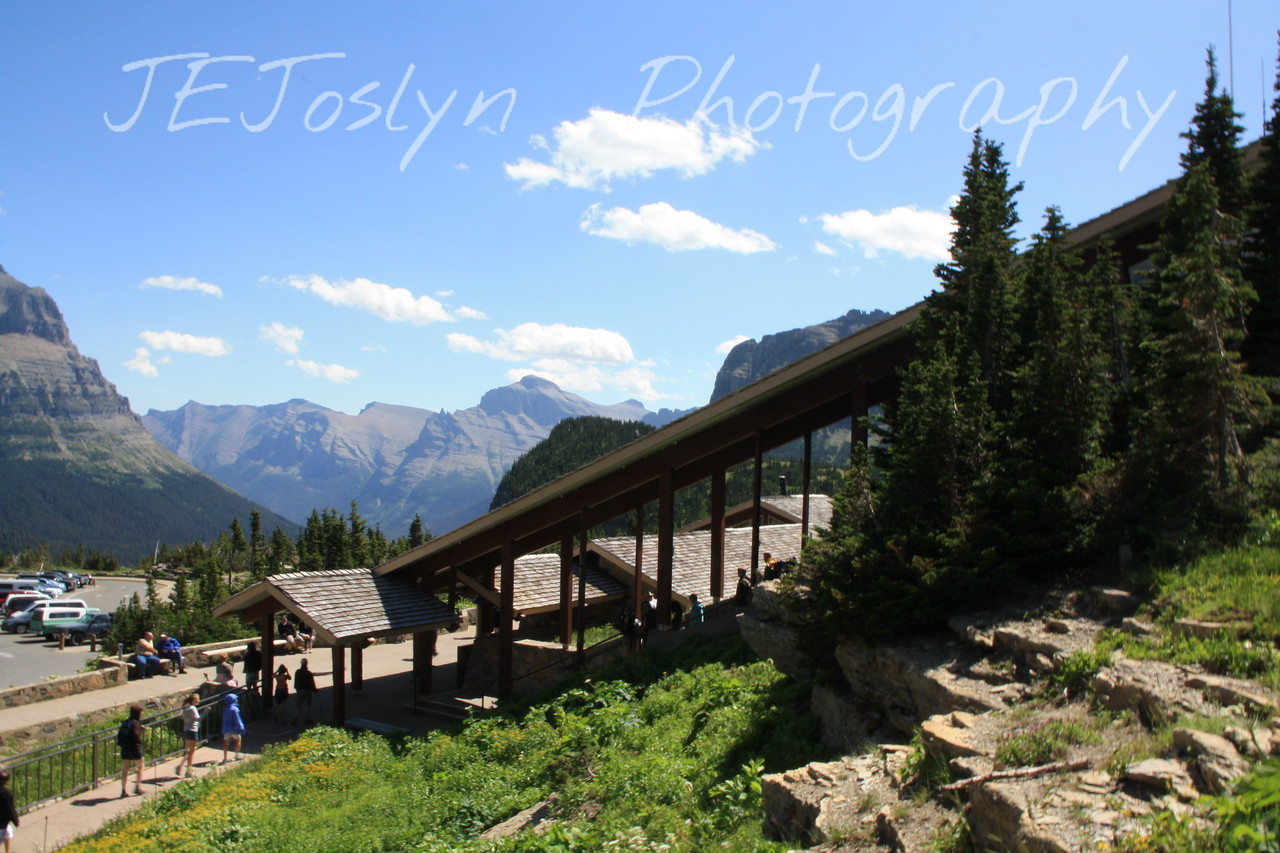 Glacier Park - Logan Pass Visitor Center walkway from parking lot to their Visitor Center and trail head.   8-2009