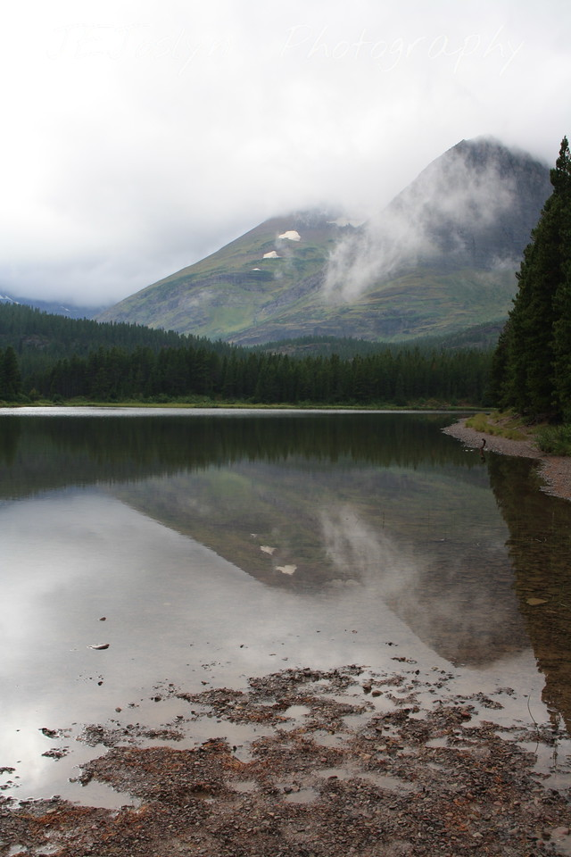 Glacier Park.  Fishercap Lake, study in reflections.   8-2009