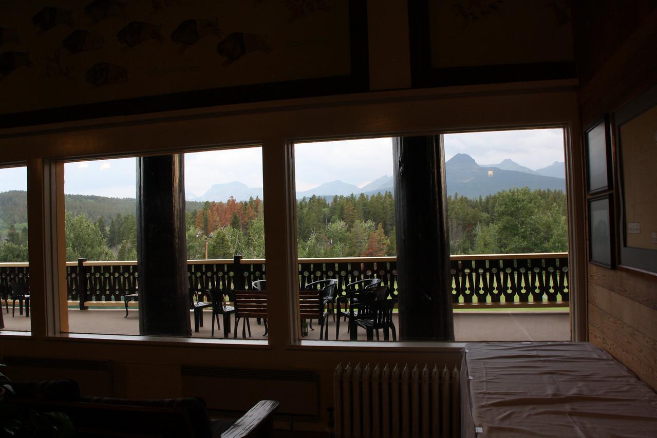 Glacier Park Lodge-East Glacier, Montana, inside looking out......8-2009