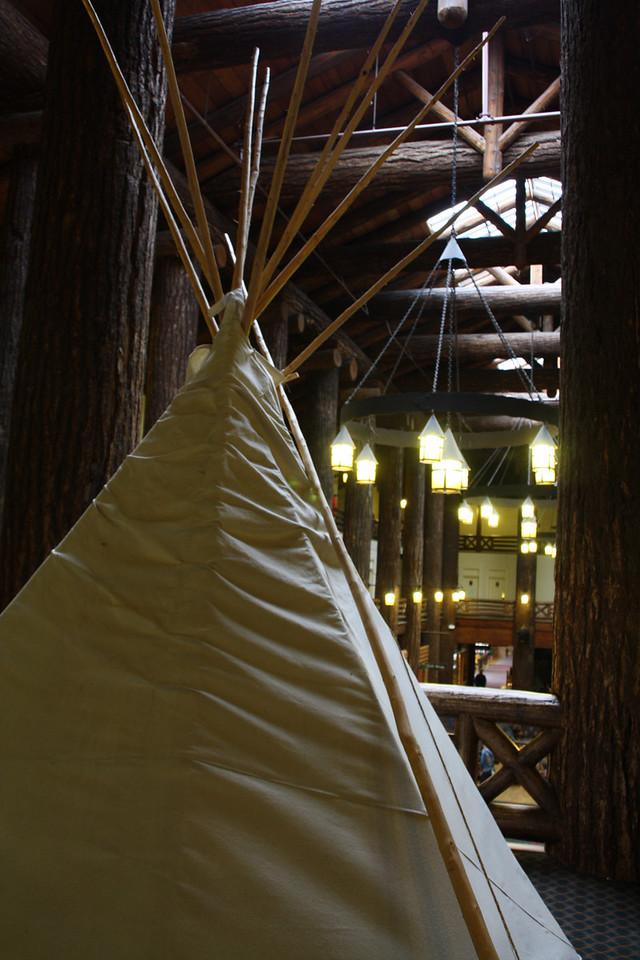 Glacier Park Lodge-East Glacier, Montana, 2nd floor display of a Blackfeet indian tepee, full size.  8-2009