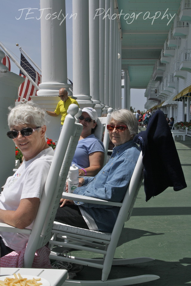 Upper/lower Michigan, bicycle trip with Cousins and Friends, this is at Mackinac Island.  Joann and Joyce.