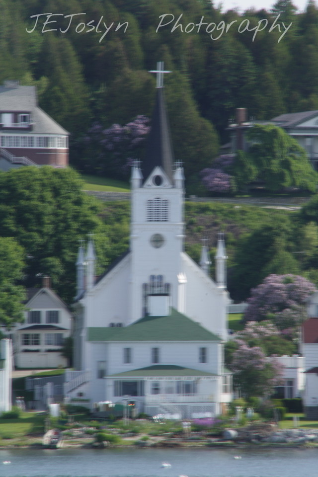 St. Anns Church on Mackinac Island - Upper/lower Michigan, bicycle trip with Cousins and Friends, including the Mackinac Island.  Boat trip over to Mackinac Island.