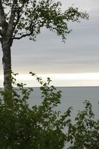 Lake Michigan, near the bridge - Upper/lower Michigan, bicycle trip with Cousins and Friends, including the Mackinac Island.