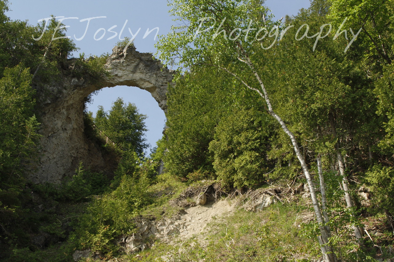 Arch Rock on Mackinac Island - Upper/lower Michigan, bicycle trip with Cousins and Friends. This is at Mackinac Island.