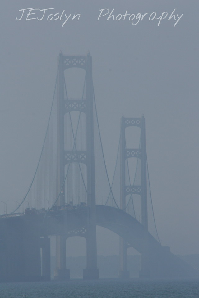 Foggy morning for the Mackinac Bridge - Upper/lower Michigan, bicycle trip with Cousins and Friends, including the Mackinac Island.  The bridge was covered in fog.