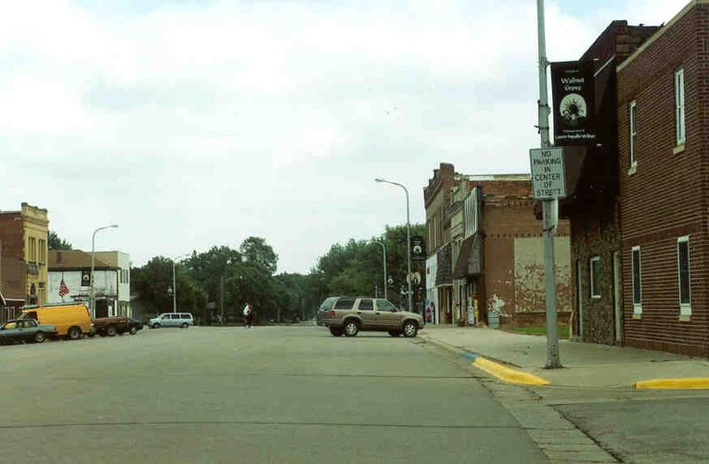 Walnut Grove, Minnesota.  Notice sign, NO PARKING IN CENTER OF STREET.  I bet the Ingles family could have parked in the center of the streets when they lived near here!