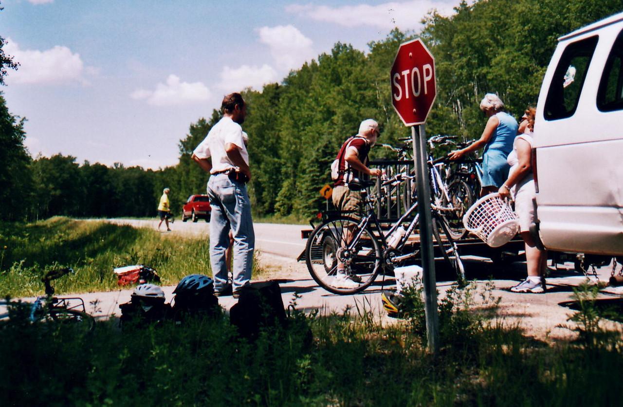 Method of Bike Transport  back to the beginning of ride.  Bike Ride, June, 2006, Mesabi Trail, northern Minnesota
